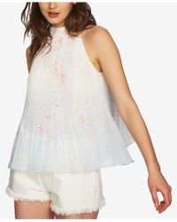 1.STATE - Printed & Pleated Mock-neck Top - Lyst