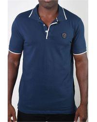 Members Only Basic Short Sleeve Logo Botton Polo - Blue