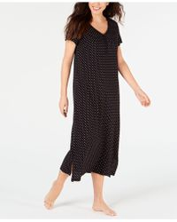 Charter Club Printed Soft Knit Cotton Nightgown, Created For Macy's - Black