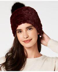 Lyst - Calvin Klein Ribbed Faux-fur Pom Pom Beanie in Brown 17476bc3d6c5