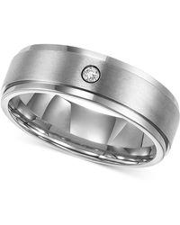 Triton - Men's Titanium Ring, 7mm Diamond Accent Wedding Band - Lyst