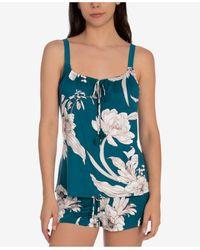 Linea Donatella Floral-print Cami & Tap Shorts Pyjama Set - Blue