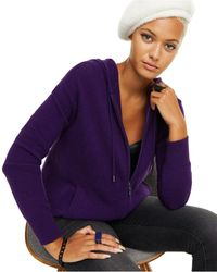 Charter Club Cashmere Zip-front Hoodie, Regular & Petite Sizes, Created For Macy's - Purple