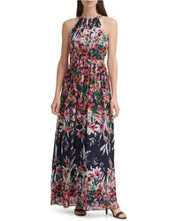 Eliza J Printed Halter Maxi Dress - Blue
