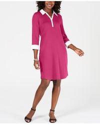 Karen Scott Petite Cotton Woven Collared Dress, Created For Macy's - Pink