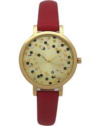 Olivia Pratt Confetti Thin Leather Strap Watch - Red