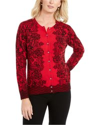 Karen Scott Lace-print Cardigan, Created For Macy's - Red