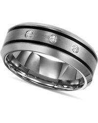 Triton Tungsten Ring, Diamond Wedding Band (1/10 Ct. T.w.) - Metallic