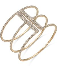 INC International Concepts - Gold-tone Crystal Triple Row Flex Bracelet - Lyst