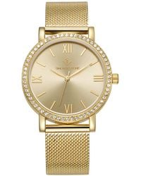 Timothy Stone 'indio' Minimalist Crystal Accented Mesh Bracelet Watch - Metallic