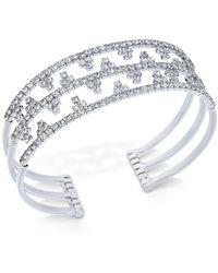 INC International Concepts - Concepts Silver-tone Openwork Pavé Cuff Bracelet - Lyst