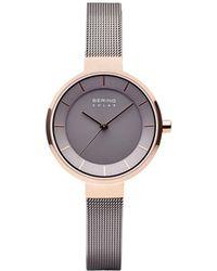 Bering Ladies' Slim Solar Case Mesh Watch - Gray