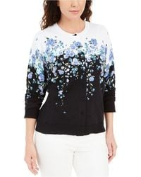 Karen Scott Corsage Printed Button Cardigan, Created For Macy's - Blue