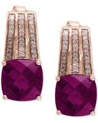 Effy Collection - Effy® Rhodolite (2-9/10 Ct. T.w.) & Diamond (1/5 Ct. T.w.) Drop Earrings In 14k Rose Gold - Lyst