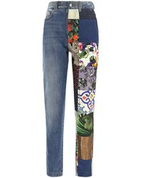 Dolce & Gabbana Denim Patchwork Jacquard Jeans - Blue