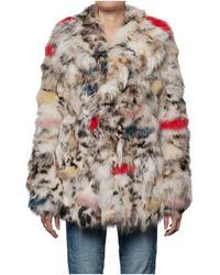 Saint Laurent Multicolour Fox Fur Jacket