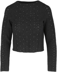 Sandro Cutout Beaded Fine-knit Jumper - Grey