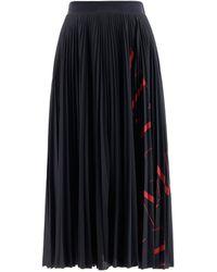 Valentino Vltn Logo Pleated Midi Skirt - Black