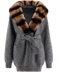 Dolce & Gabbana Belted Cashmere Cardigan - Gray