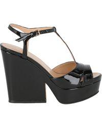 Sergio Rossi Patent Leather Platform Sandals - Black