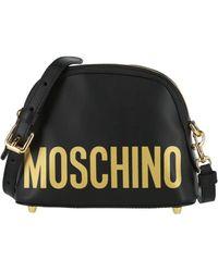 Moschino Mini Logo Leather Crossbody - Black