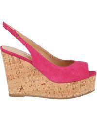 Sergio Rossi Pantelleria Suede Wedge Sandals - Pink