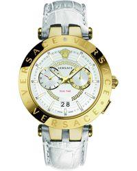 Versace V-race Multifunction Leather Watch - Metallic