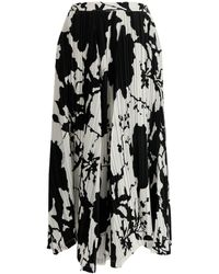 Ferragamo Printed Asymmetric Pleated Skirt - White