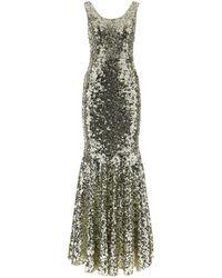 Dolce & Gabbana Sequined Mermain-hem Gown - Metallic