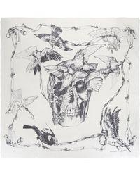 Alexander McQueen Birds On Skull Scarf - White