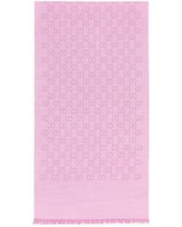 Gucci GG Logo Wool And Silk Scarf - Pink