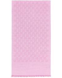 Gucci GG Logo Wool And Silk Scarf - Pink