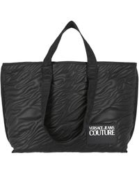 Versace Jeans Couture Xl Quilted Fabric Tote Bag - Black