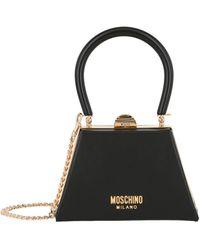 Moschino Mini Leather Top Handle Bag - Black