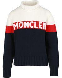 Moncler Logo Cashmere Jumper - Blue