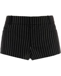 Saint Laurent Pinstripe Wool-blend Shorts - Black