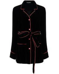 Dolce & Gabbana Button-down Belted Blazer - Black