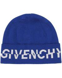 Givenchy Logo Wool Beanie - Blue
