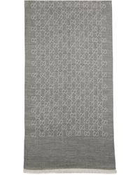 Gucci GG Logo Wool And Silk Scarf - Gray