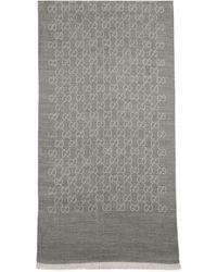 Gucci GG Logo Wool And Silk Scarf - Grey
