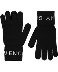 Givenchy Logo Wool Gloves - Black