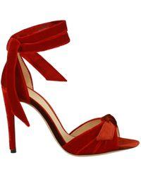 Alexandre Birman Jessica Bow Velvet Heels - Red