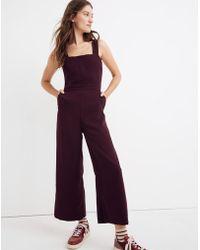 5e09e51a39ea Madewell - Apron Bow-back Jumpsuit - Lyst