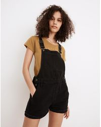 MW Adirondack Short Overalls In Washed Black