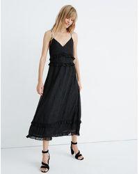 Madewell Petite Shimmer Ruffle Cami Dress - Black