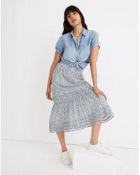 MW (re)sourced Georgette Pintuck Maxi Skirt In Sunflower Field - Blue