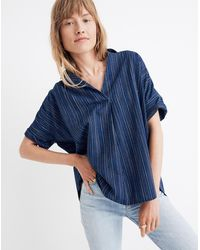 Madewell Courier Button Back Shirt In Cecile Stripe - Blue