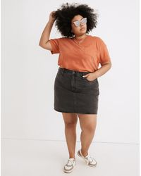 MW Plus Rigid Denim High-waist Straight Mini Skirt In Berridge Wash - Multicolour