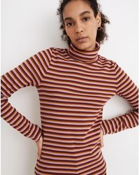 MW Ribbed Turtleneck Top In Chilton Stripe - Red
