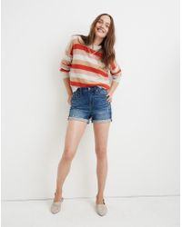 fe2e69c52e0 Madewell - High-rise Denim Boyshorts In Glenoaks Wash  Cutoff Edition - Lyst